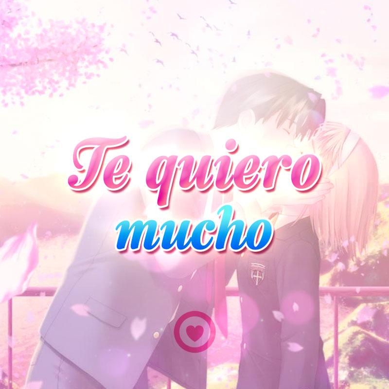 Imagen de pareja besándose con frase te quiero mucho